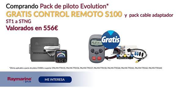 Comprando pack de piloto Evolution Gratis control Remoto S100 y pack cable adaptador ST a STNG Valorados en 556€